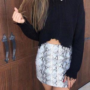 Snake Skin Faux Leather Skirt